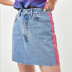 Zara Denim Skirt with Colored Stripes